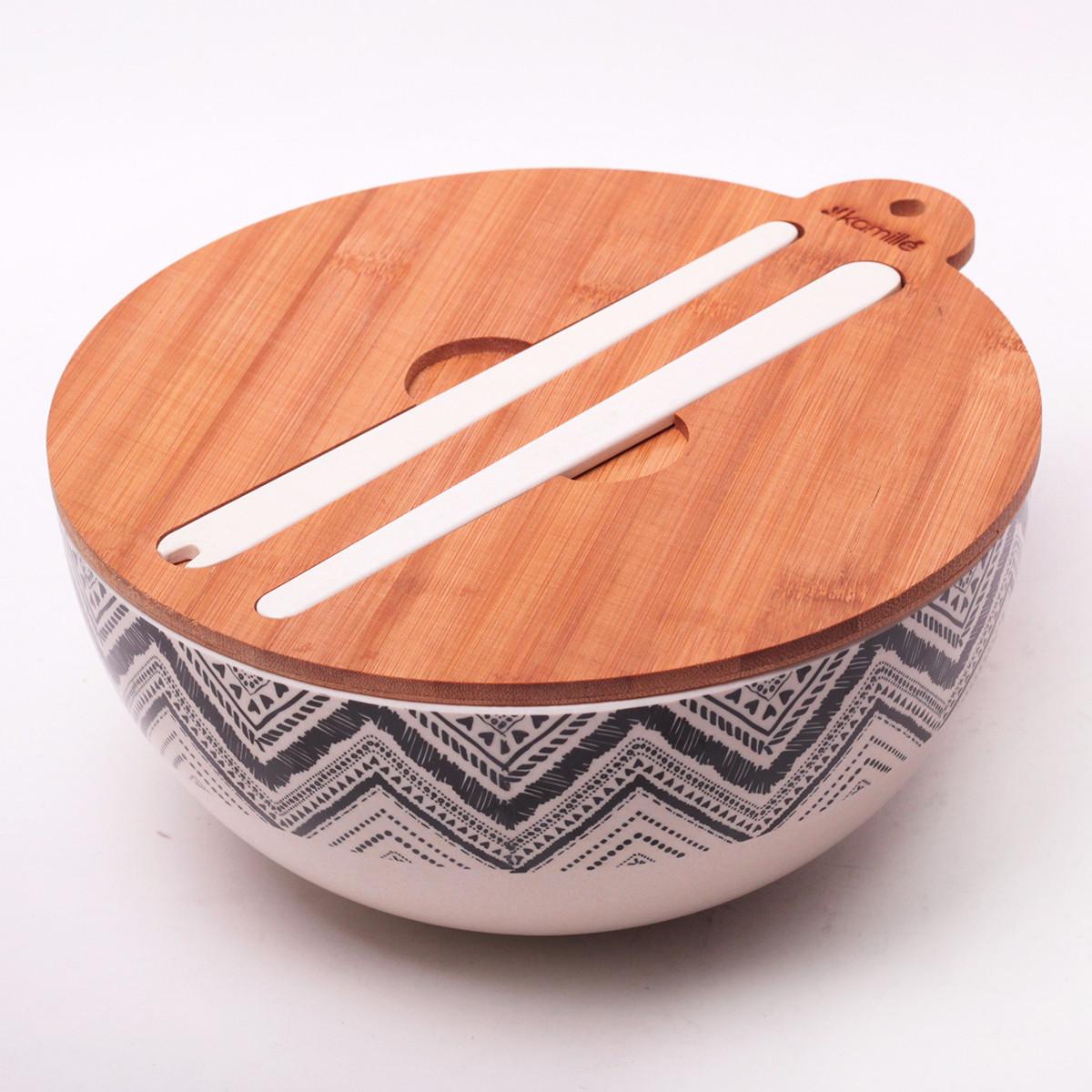 Миска Kamille Ø27*12.2 см из бамбукового волокна с бамбуковой крышкой и приборами
