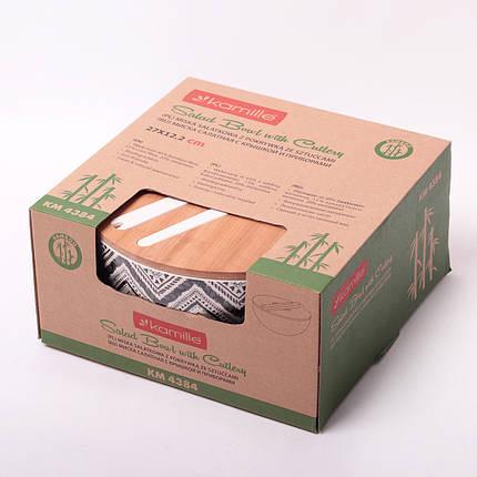 Миска Kamille Ø27*12.2 см из бамбукового волокна с бамбуковой крышкой и приборами, фото 2