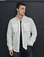 Мужская рубашка белая однотонная (чоловіча сорочка стаф) Staff white PKY0187