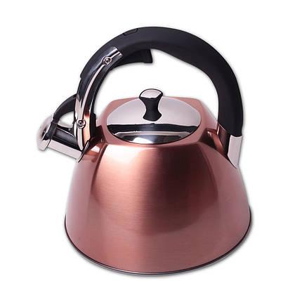 Чайник 3л из нержавеющей стали со свистком и черной бакелитовой ручкой для индукции, фото 2