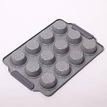Форма для запекания 38*26*3см из углеродистой стали с 12 отделениями (серый и бежевый мрамор), фото 2