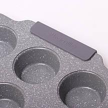 Форма для запекания 38*26*3см из углеродистой стали с 12 отделениями (серый и бежевый мрамор), фото 3