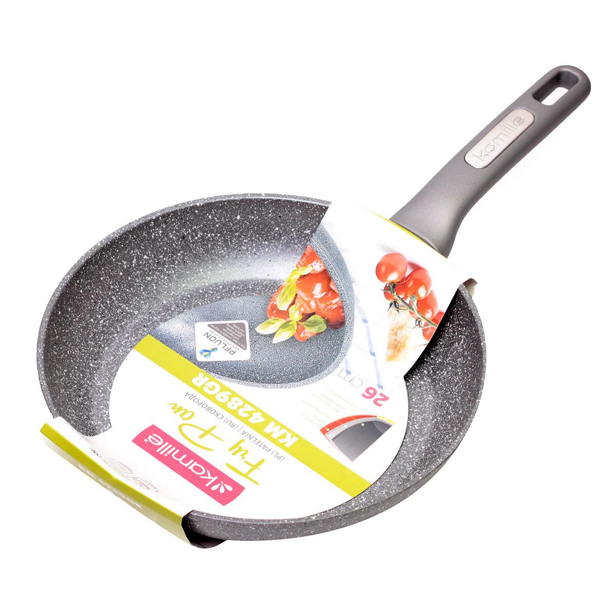 Сковорода Kamille 26см с гранитным покрытием из алюминия для индукции