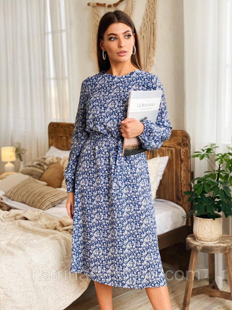 Женское платье-миди с цветочным принтом