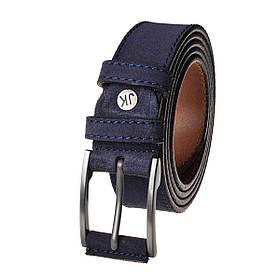 Натуральная кожаный мужской ремень JK Голубой (MC354130101)