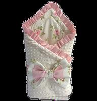 """Одеяло-конверт на выписку Солодкий Сон хлопок/плюш с рюшами 80х100 см. """"Нежные розы"""", фото 1"""