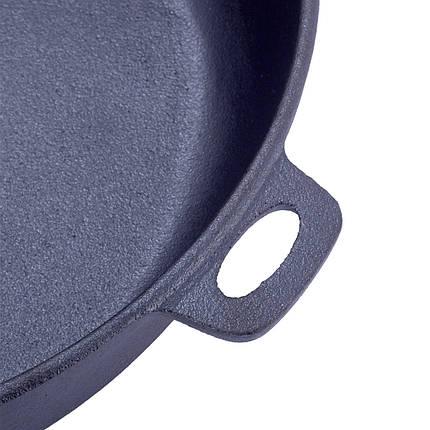 Сковорода чугунная 30.5см с деревянной ручкой для индукции для приготовления пищи, фото 2