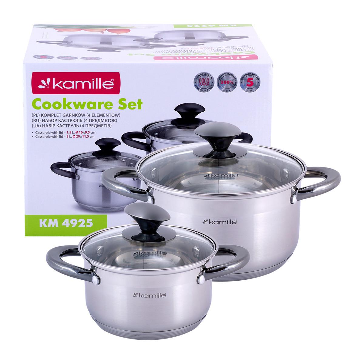 Набор кастрюль Kamille посуда из нержавеющей стали для газа 4 предмета для приготовления пищи для индукции