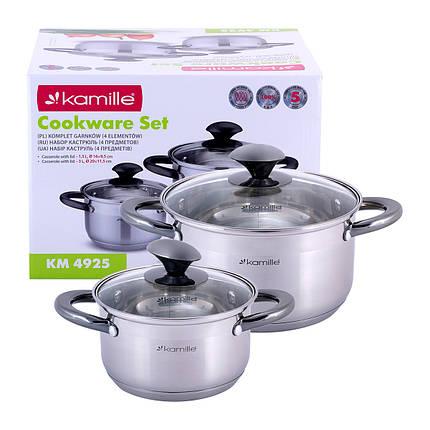 Набор кастрюль Kamille посуда из нержавеющей стали для газа 4 предмета для приготовления пищи для индукции, фото 2