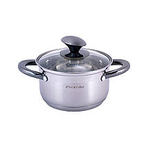 Набор кастрюль Kamille посуда из нержавеющей стали для газа 4 предмета для приготовления пищи для индукции, фото 3