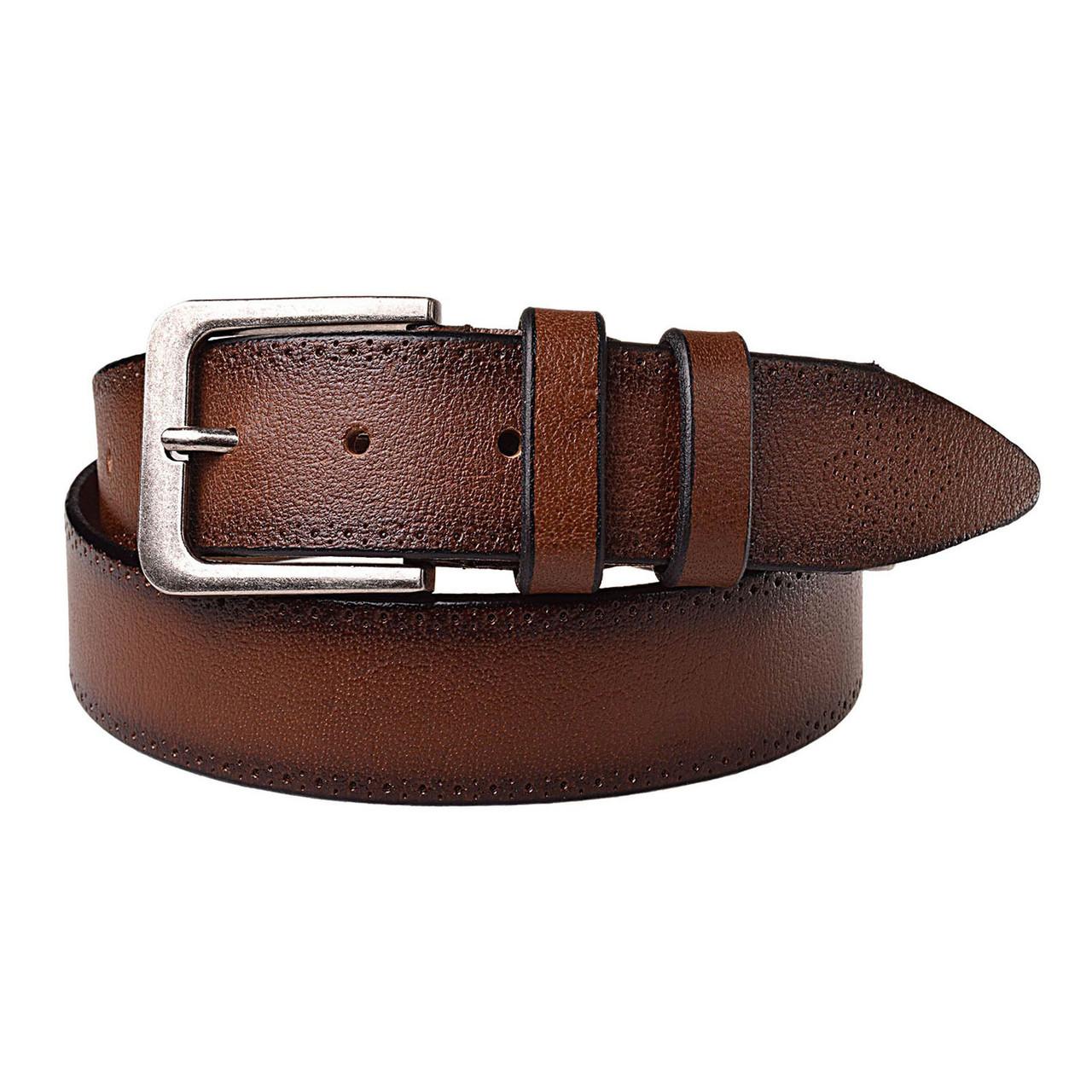 Натуральная кожаный мужской ремень JK Коричневый (MC352037118)