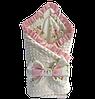 """Одеяло-конверт на выписку Солодкий Сон хлопок/плюш с рюшами 80х80 см. """"Нежные розы"""""""