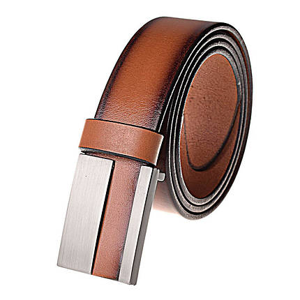 Натуральная кожаный мужской ремень JK Светло-коричневый (MG402040120), фото 2