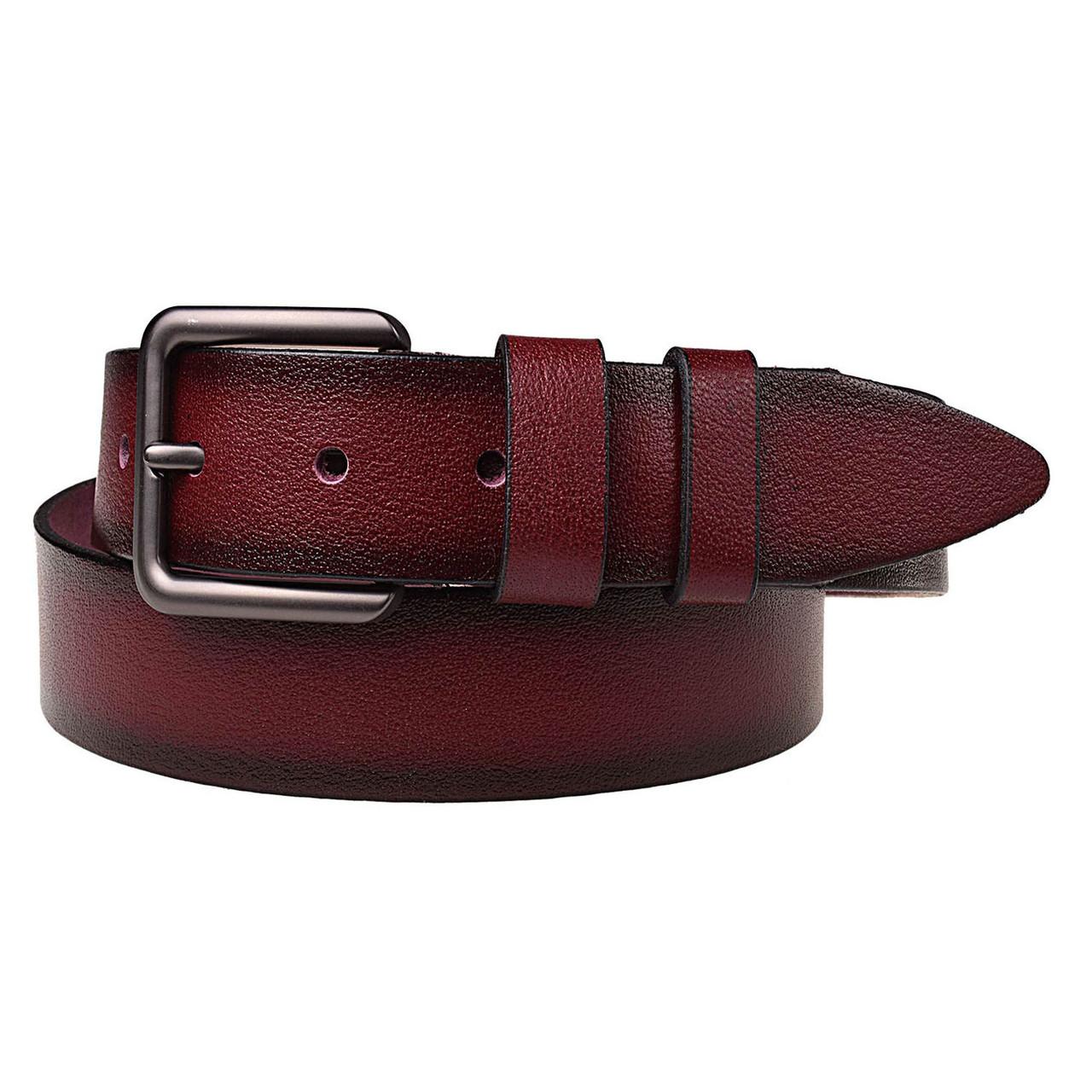 Натуральная кожаный мужской ремень JK Красный (MC402070113)