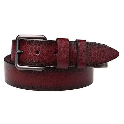 Натуральная кожаный мужской ремень JK Красный (MC402070113), фото 2