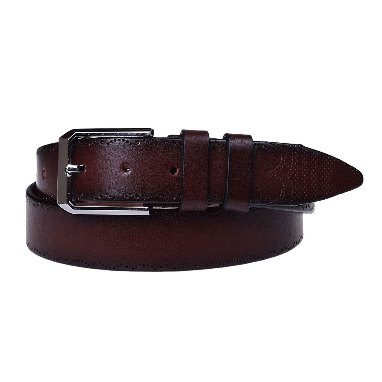 Натуральная кожаный мужской ремень JK Бордо (MC352097208)