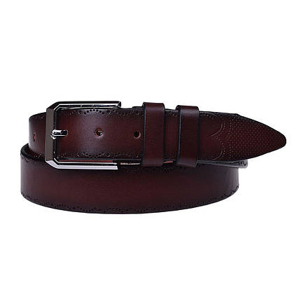 Натуральная кожаный мужской ремень JK Бордо (MC352097208), фото 2