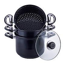 Пароварка 3-х уровневая 4л из углеродистой стали для приготовления пищи для индукции, фото 3