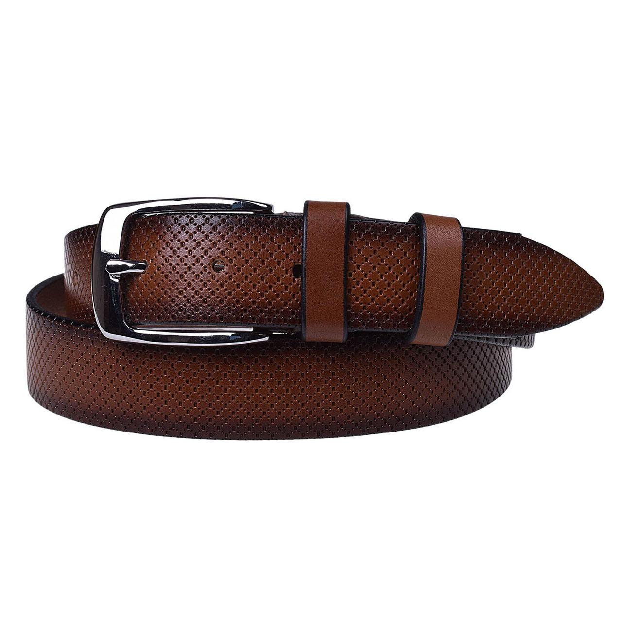Натуральная кожаный мужской ремень JK Коричневый (MC352037301)