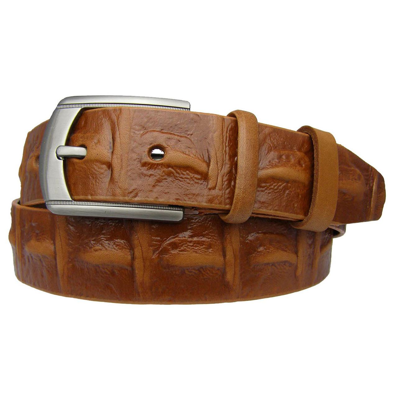 Натуральная кожаный мужской ремень JK Рыжий (MC401063504)