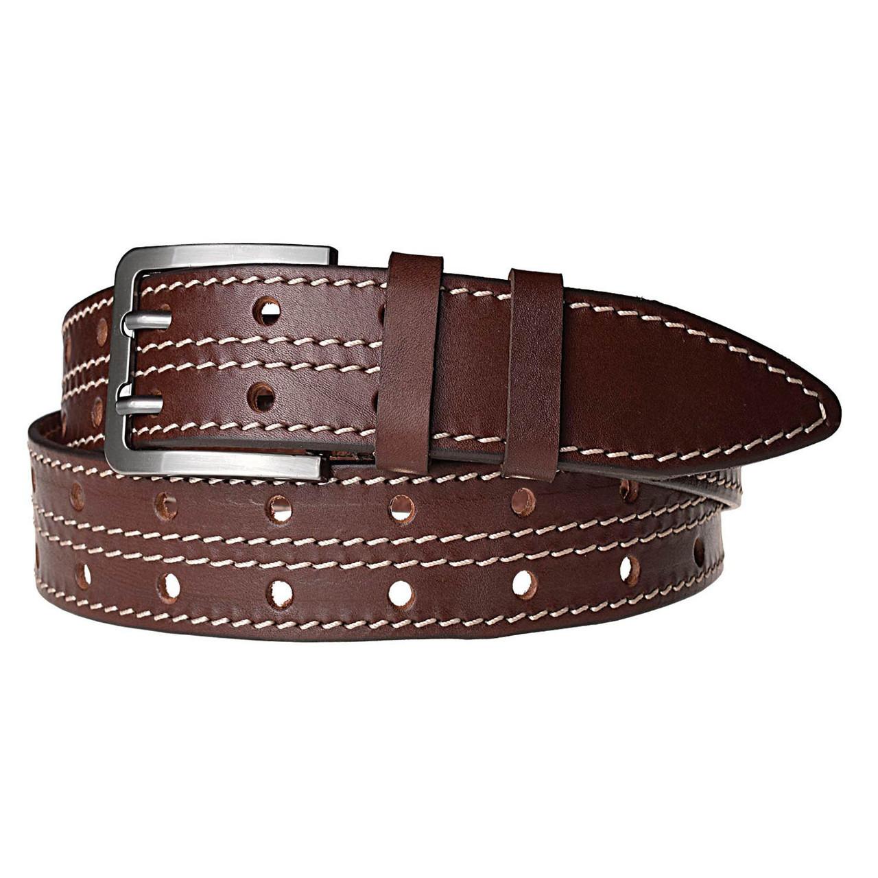 Натуральная кожаный мужской ремень JK Темно-коричневый (MC401056222)