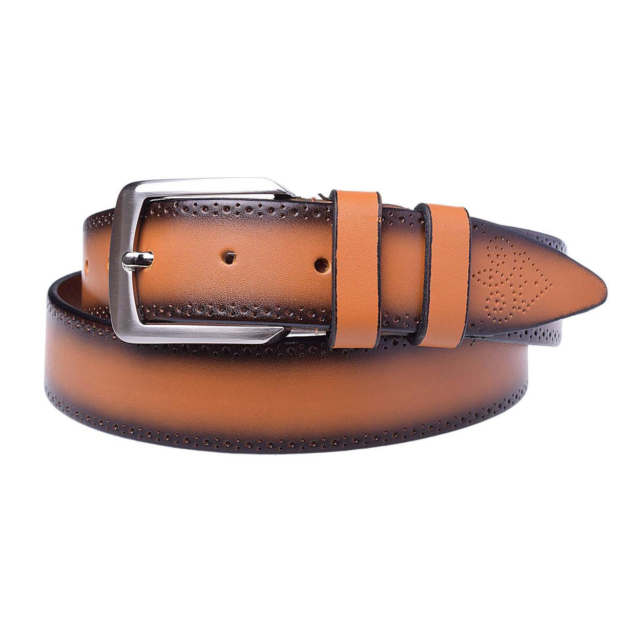 Натуральная кожаный мужской ремень JK Рыжий (MC352067119)