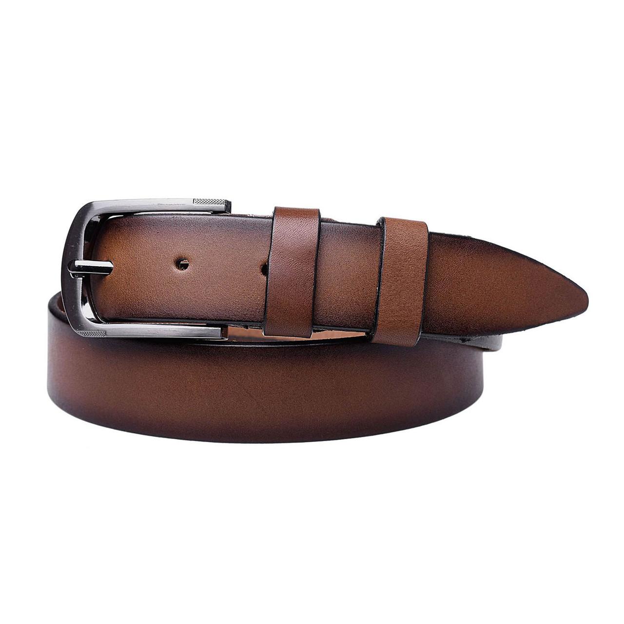 Натуральная кожаный мужской ремень JK Рыжий (MC352060134)