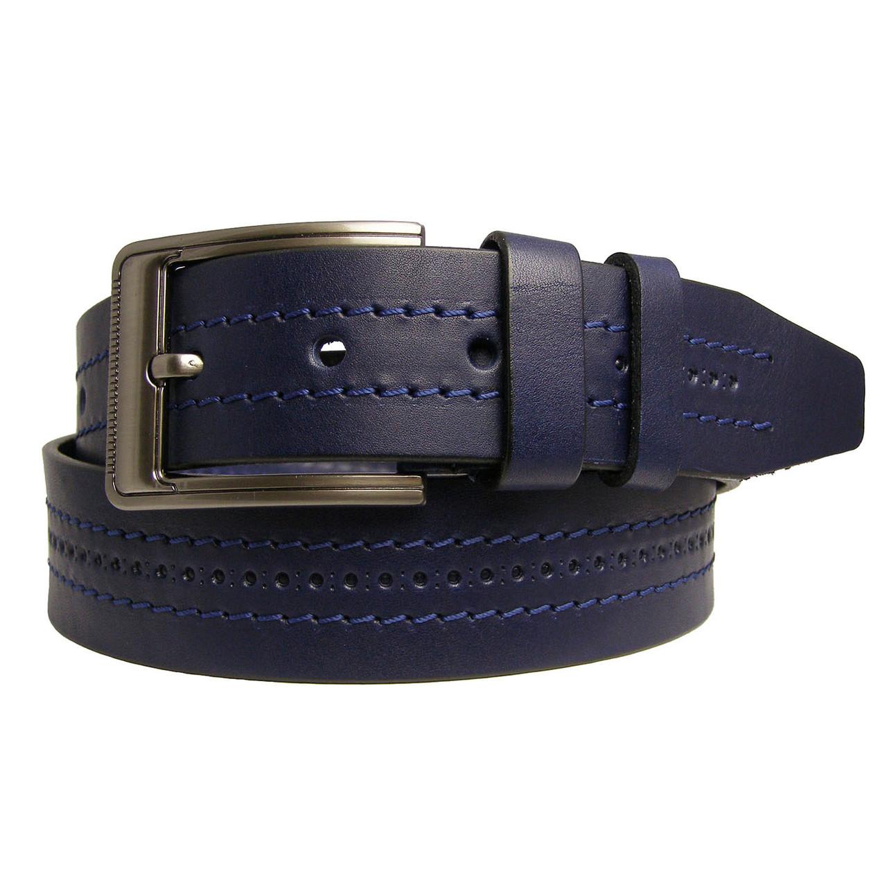 Натуральная кожаный мужской ремень JK Синий (MC451020701)
