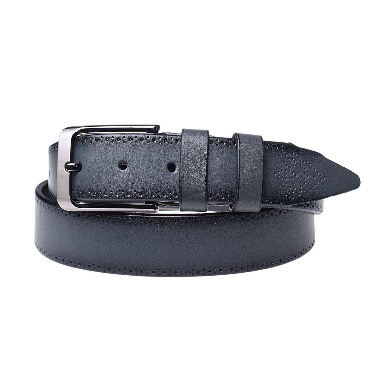 Натуральная кожаный мужской ремень JK Серый (MC352107129)