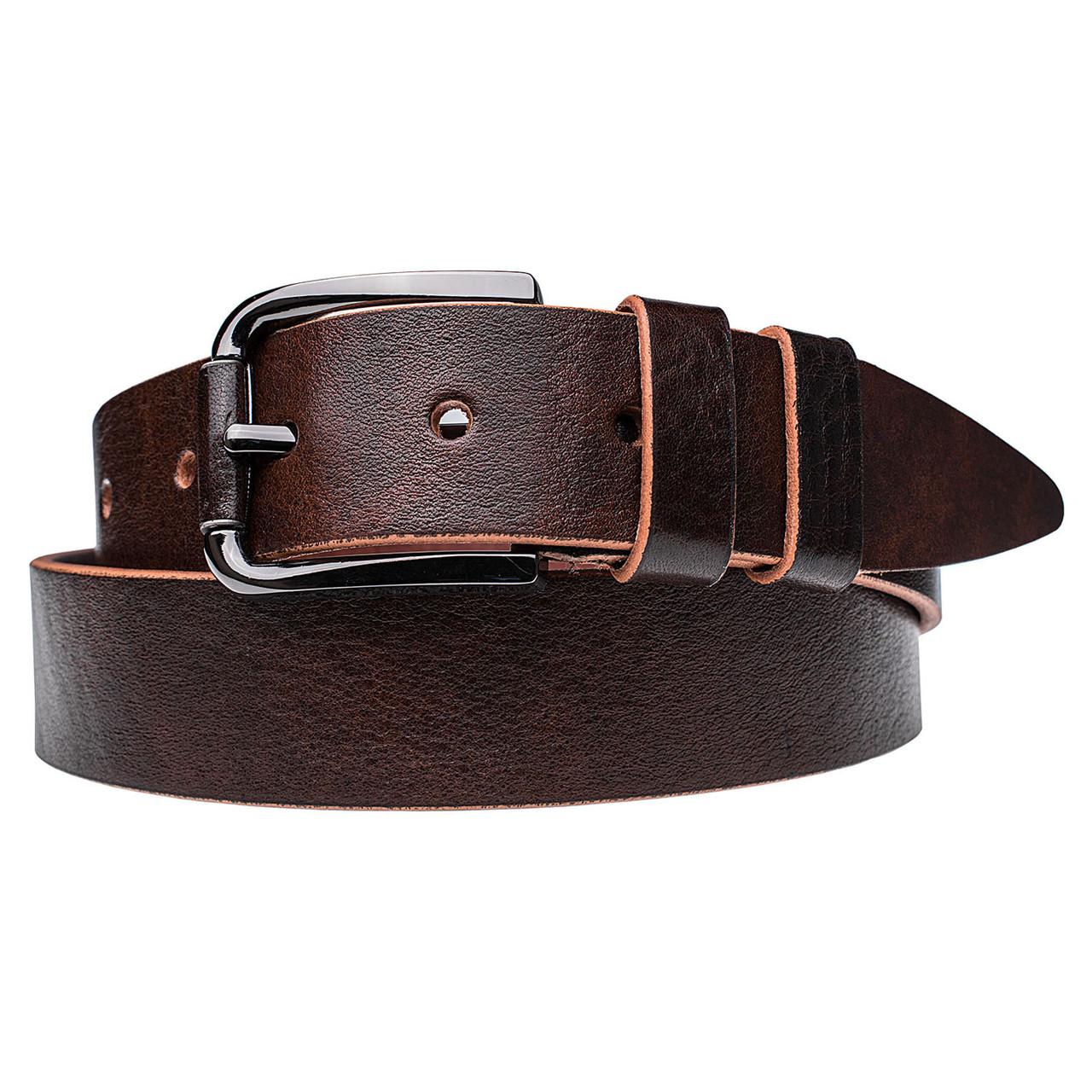 Натуральная кожаный мужской ремень JK Темно-коричневый (MC402050145)