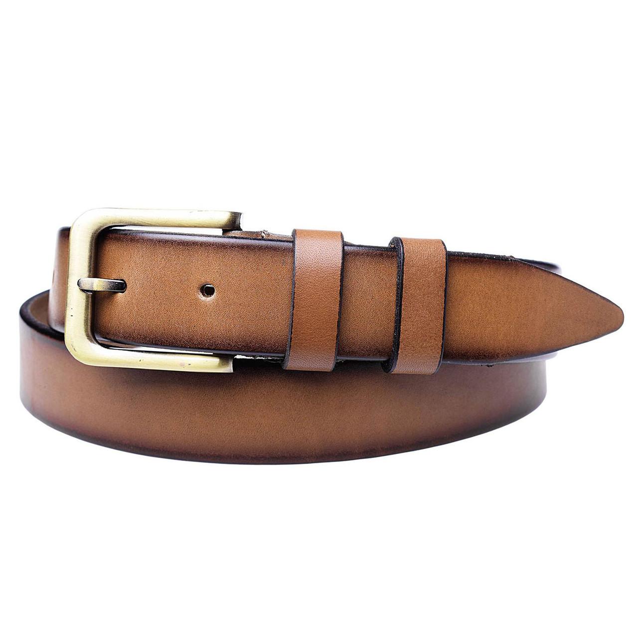 Натуральная кожаный мужской ремень JK Рыжий (MC352060137)