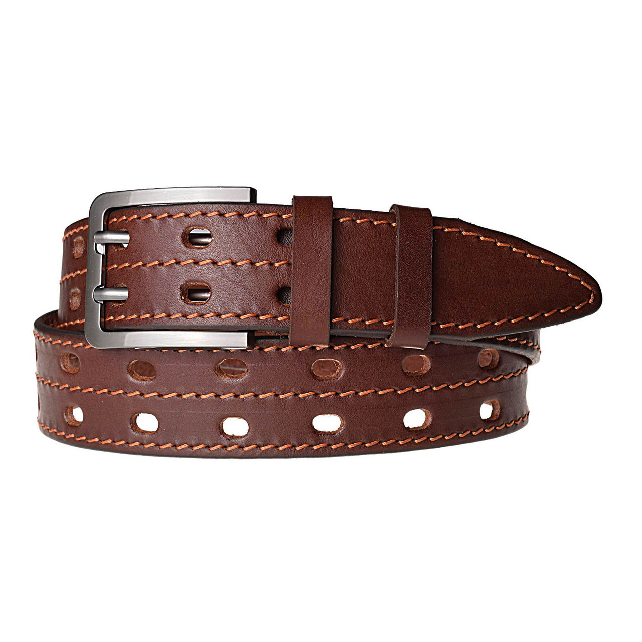 Натуральная кожаный мужской ремень JK Темно-коричневый (MC401056422)