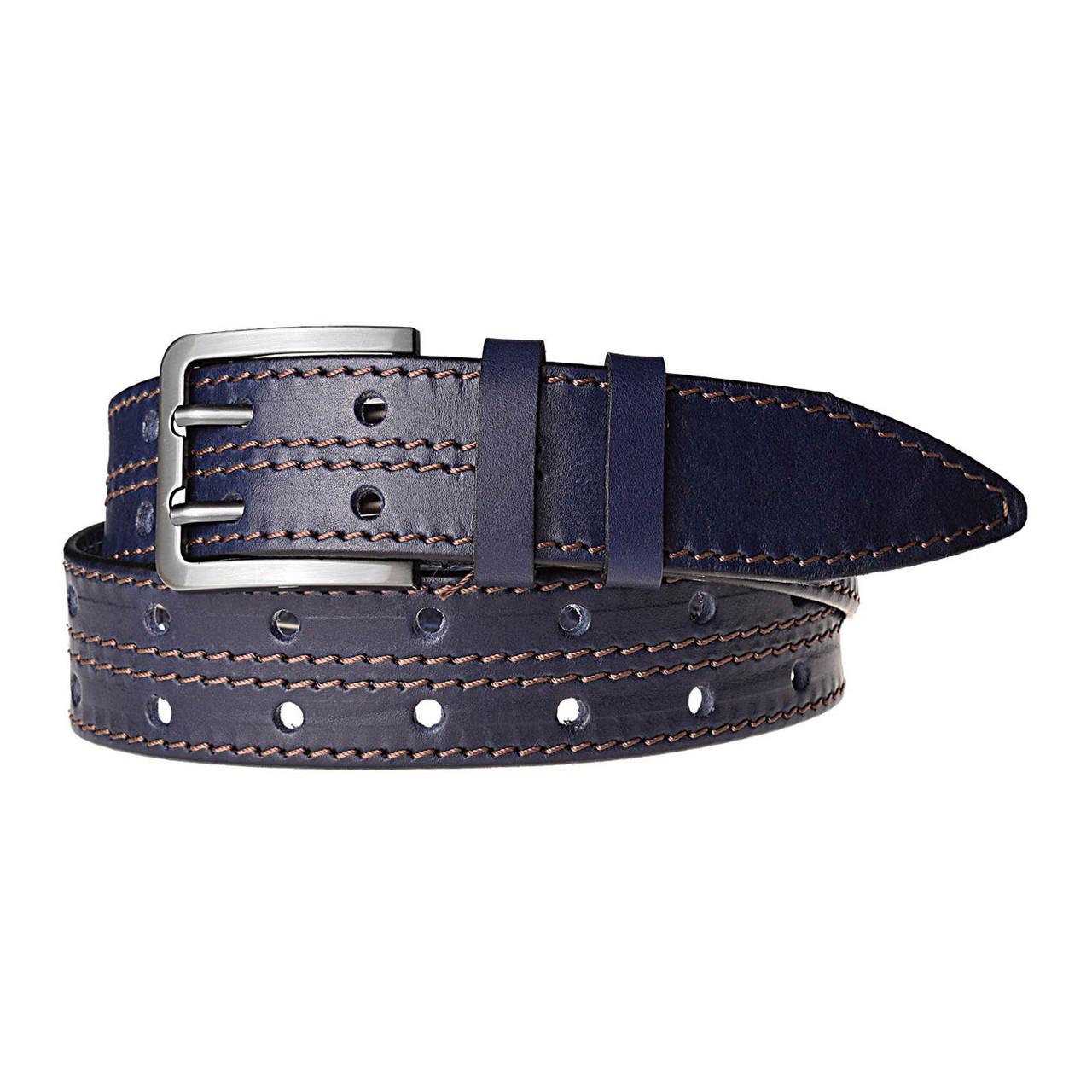 Натуральная кожаный мужской ремень JK Синий (MC401026322)