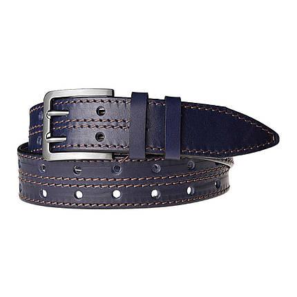 Натуральная кожаный мужской ремень JK Синий (MC401026322), фото 2
