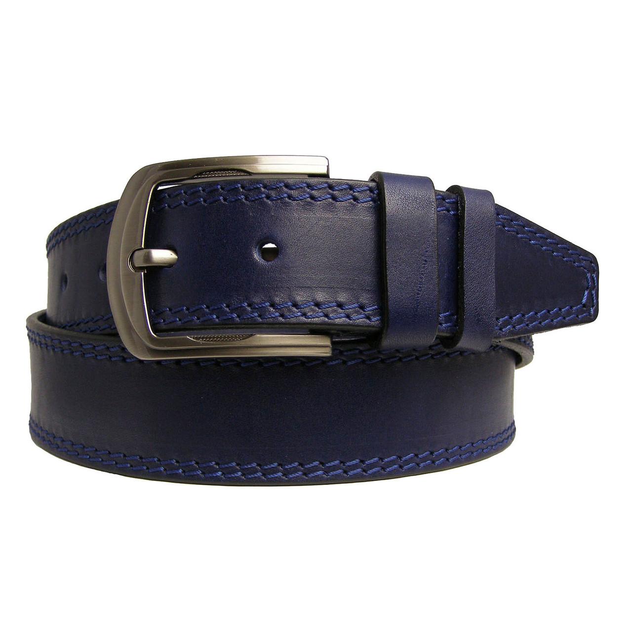 Натуральная кожаный мужской ремень JK Синий (MC451028201)
