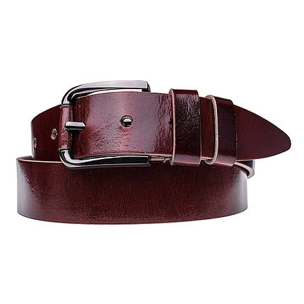 Натуральная кожаный мужской ремень JK Бордо (MC402090145), фото 2
