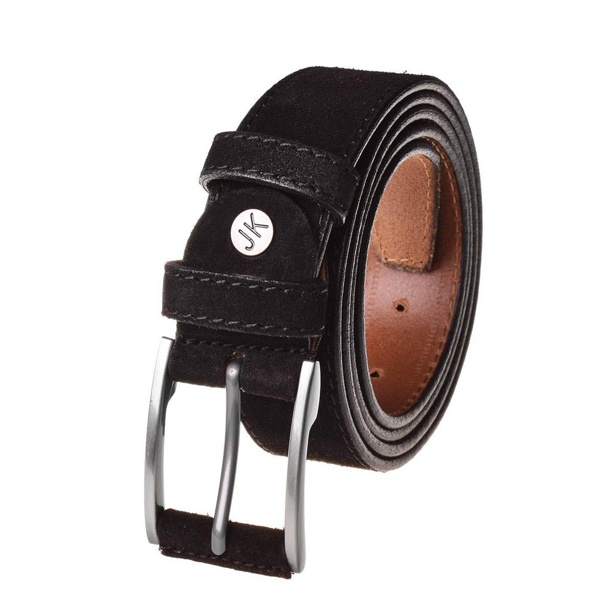 Натуральная кожаный мужской ремень JK Черный (MC354010101)