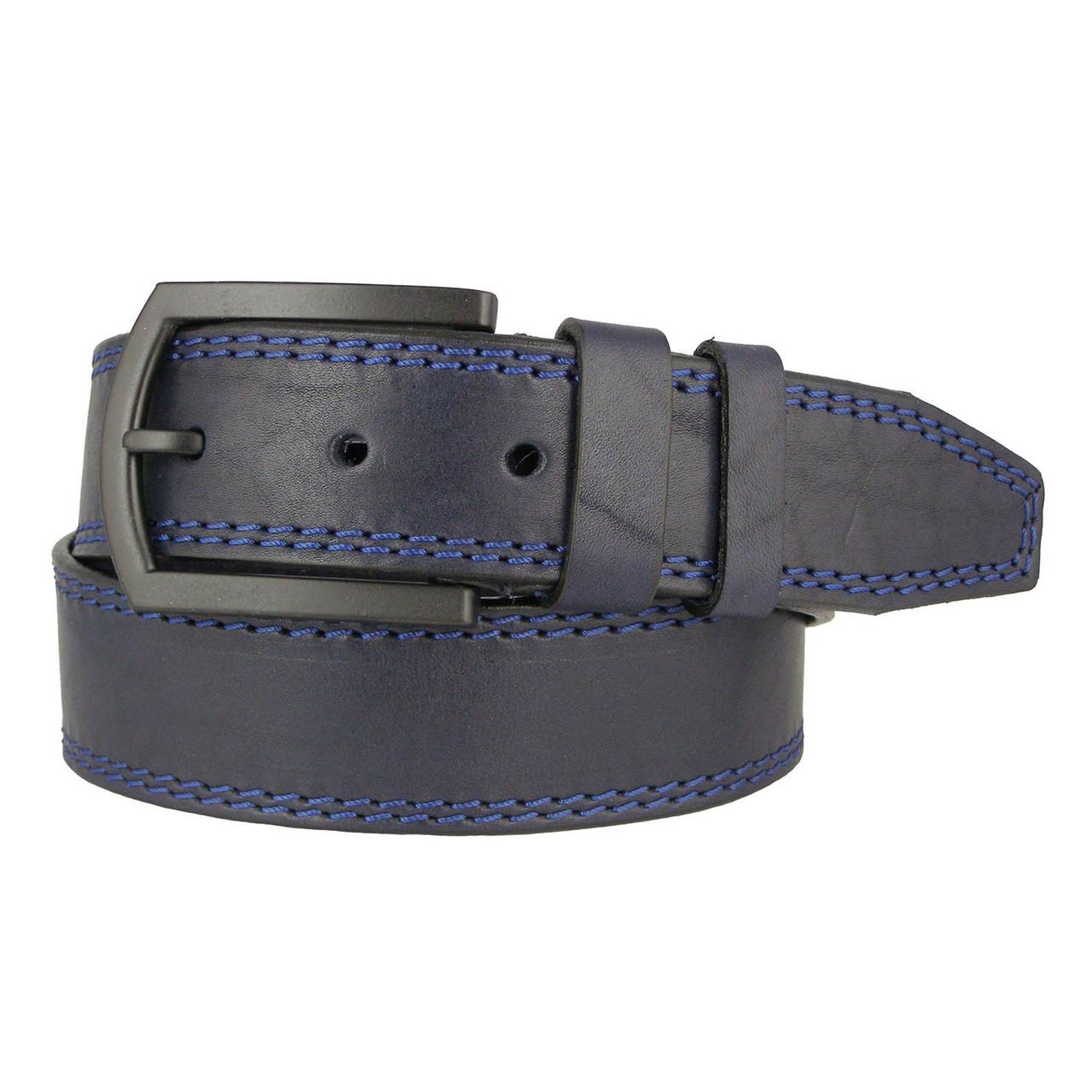 Натуральная кожаный мужской ремень JK Синий (MC451028217)