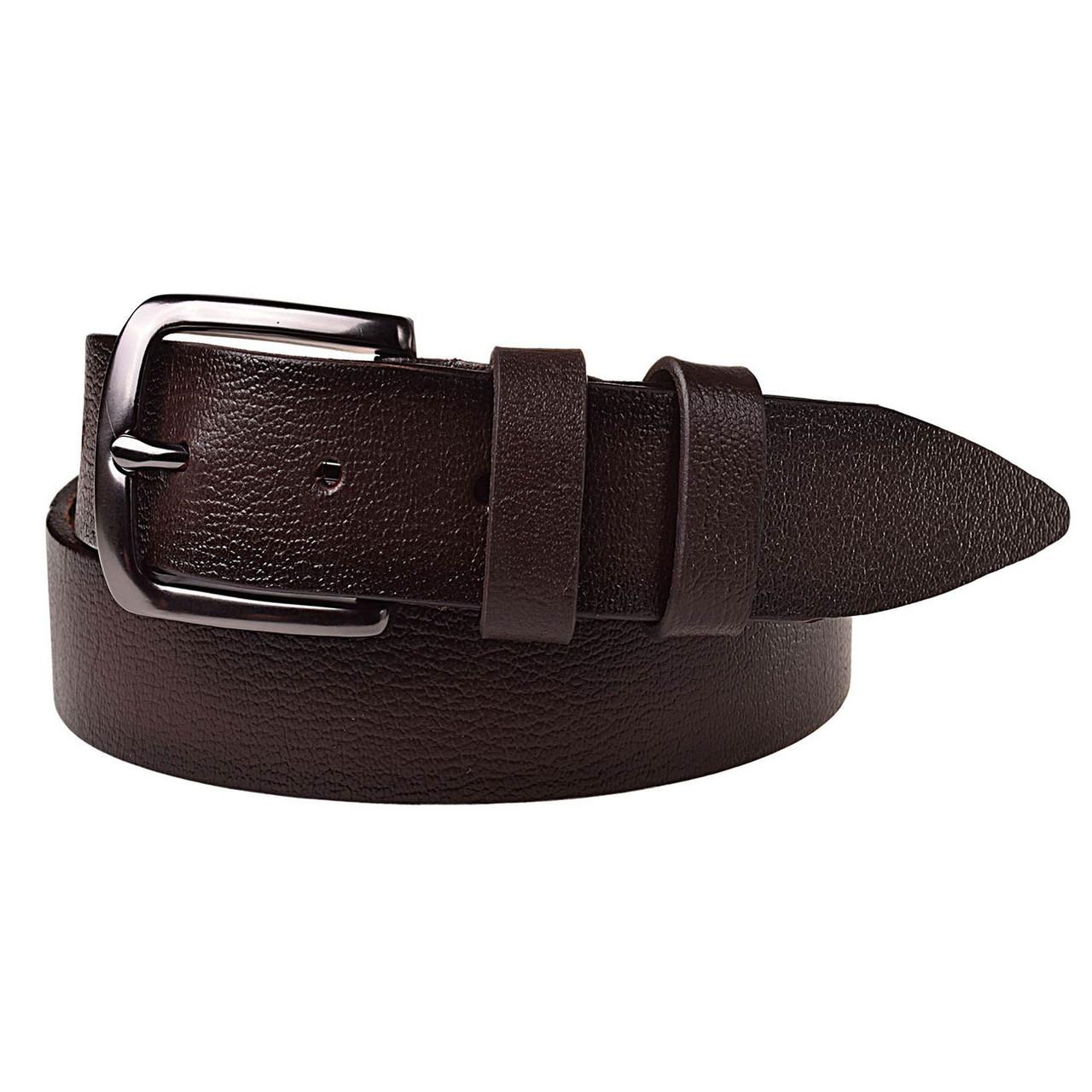 Натуральная кожаный мужской ремень JK Темно-коричневый (MC352058106)