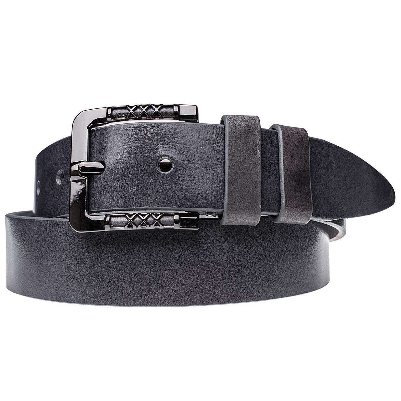 Натуральная кожаный мужской ремень JK Серый (MC402100149)