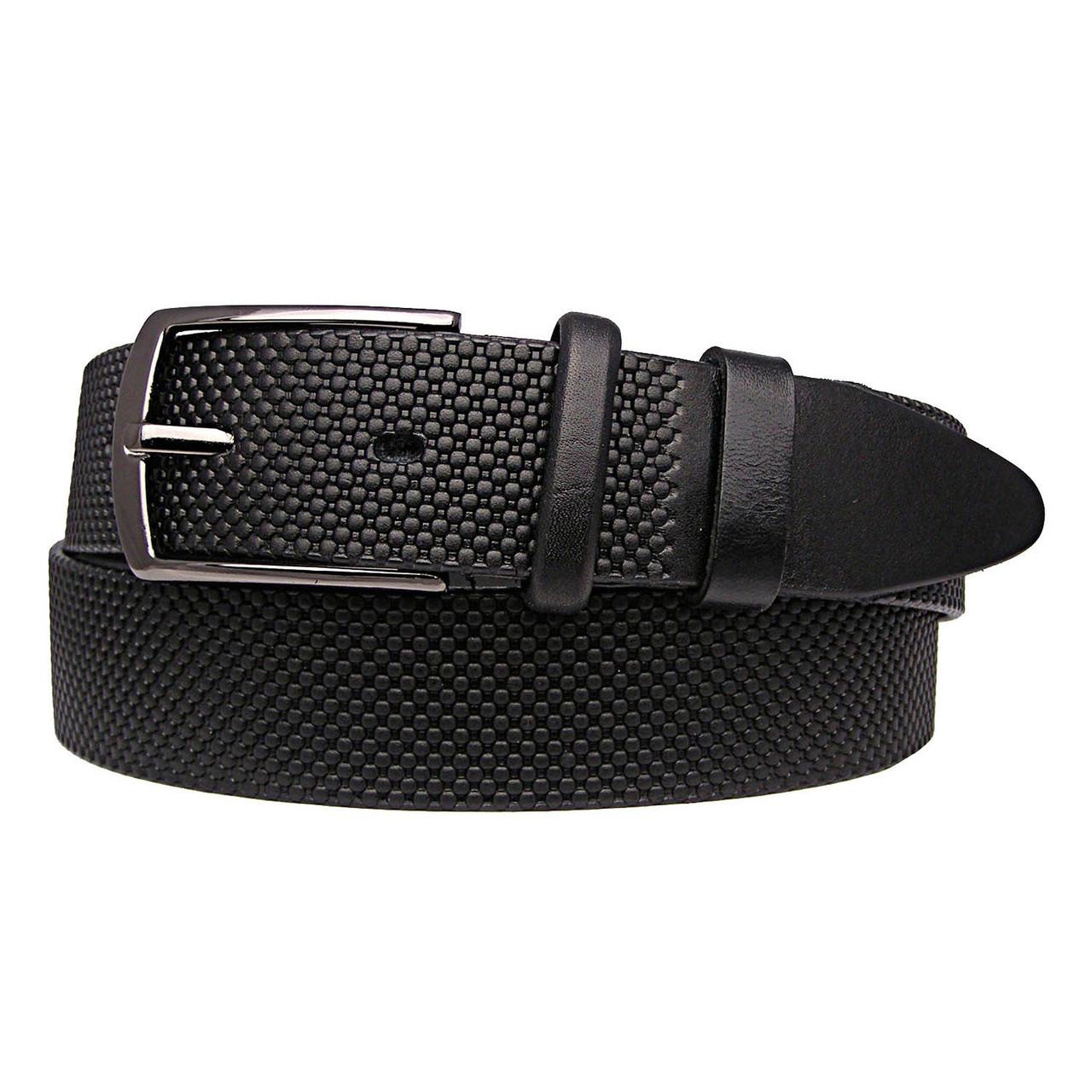 Натуральная кожаный мужской ремень JK Черный (MC351011202)