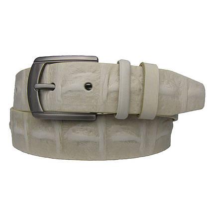 Натуральная кожаный мужской ремень JK бежевый (MC401163504), фото 2