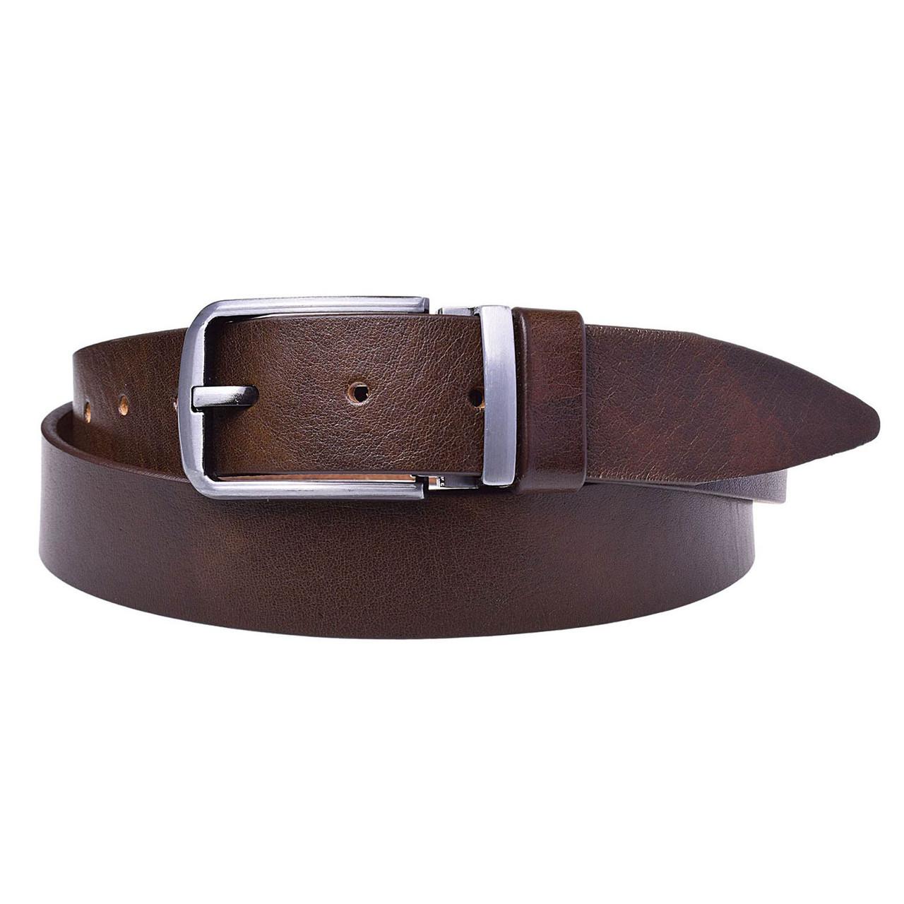 Натуральная кожаный мужской ремень JK Коричневый (MC352030190)