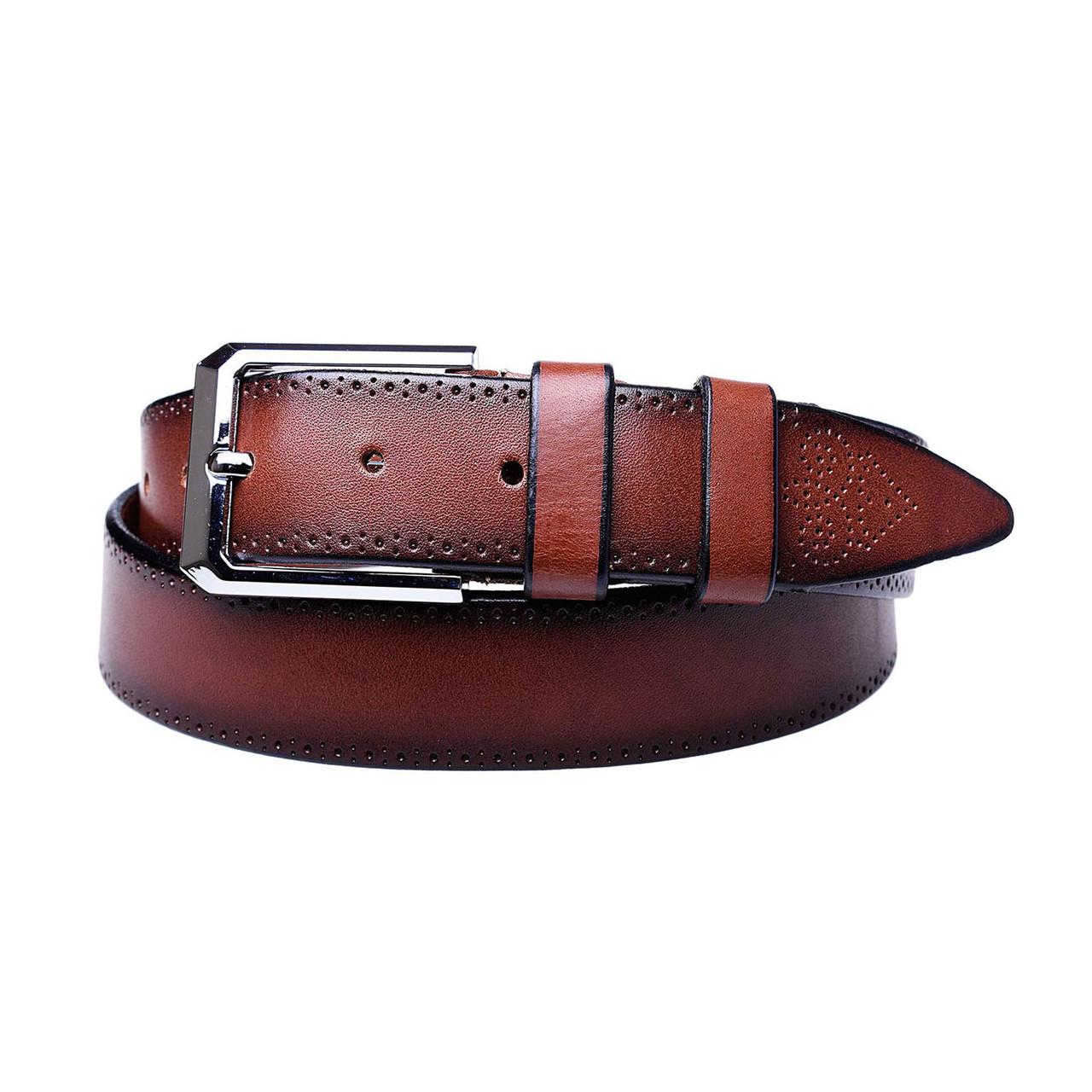 Натуральная кожаный мужской ремень JK Коричневый (MC352037108)