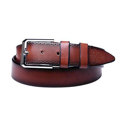 Натуральная кожаный мужской ремень JK Коричневый (MC352037108), фото 2