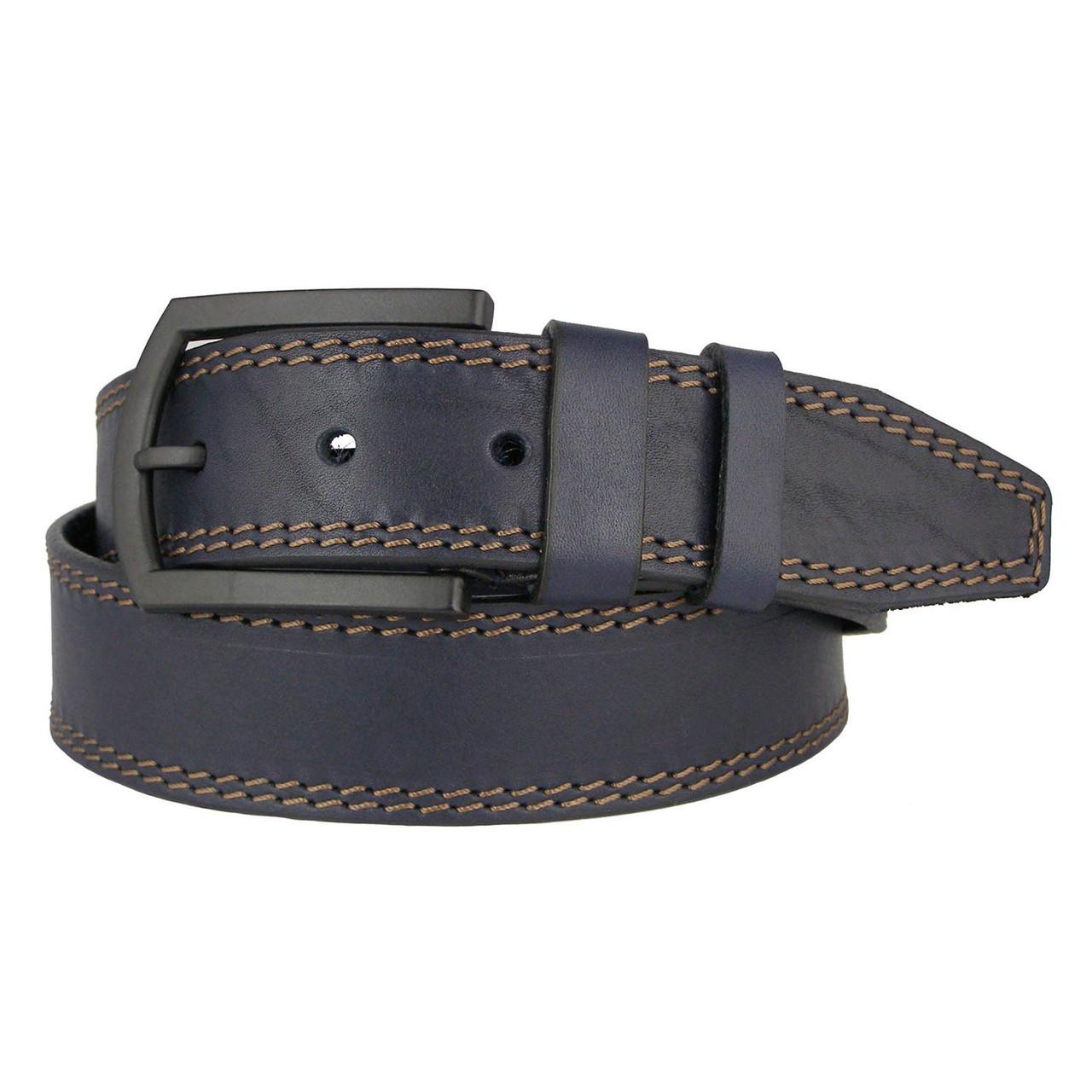 Натуральная кожаный мужской ремень JK Синий (MC451028317)
