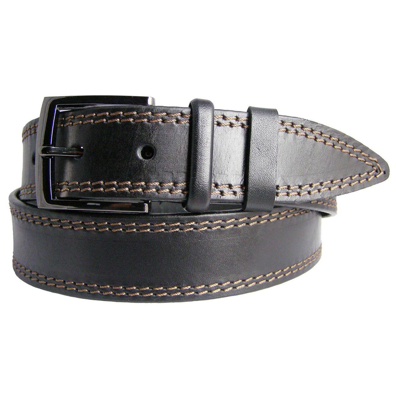 Натуральная кожаный мужской ремень JK Черный (MC401018303)