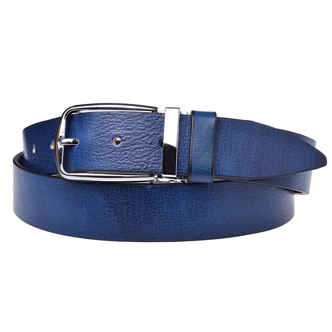 Натуральная кожаный мужской ремень JK Синий (MC352020193)