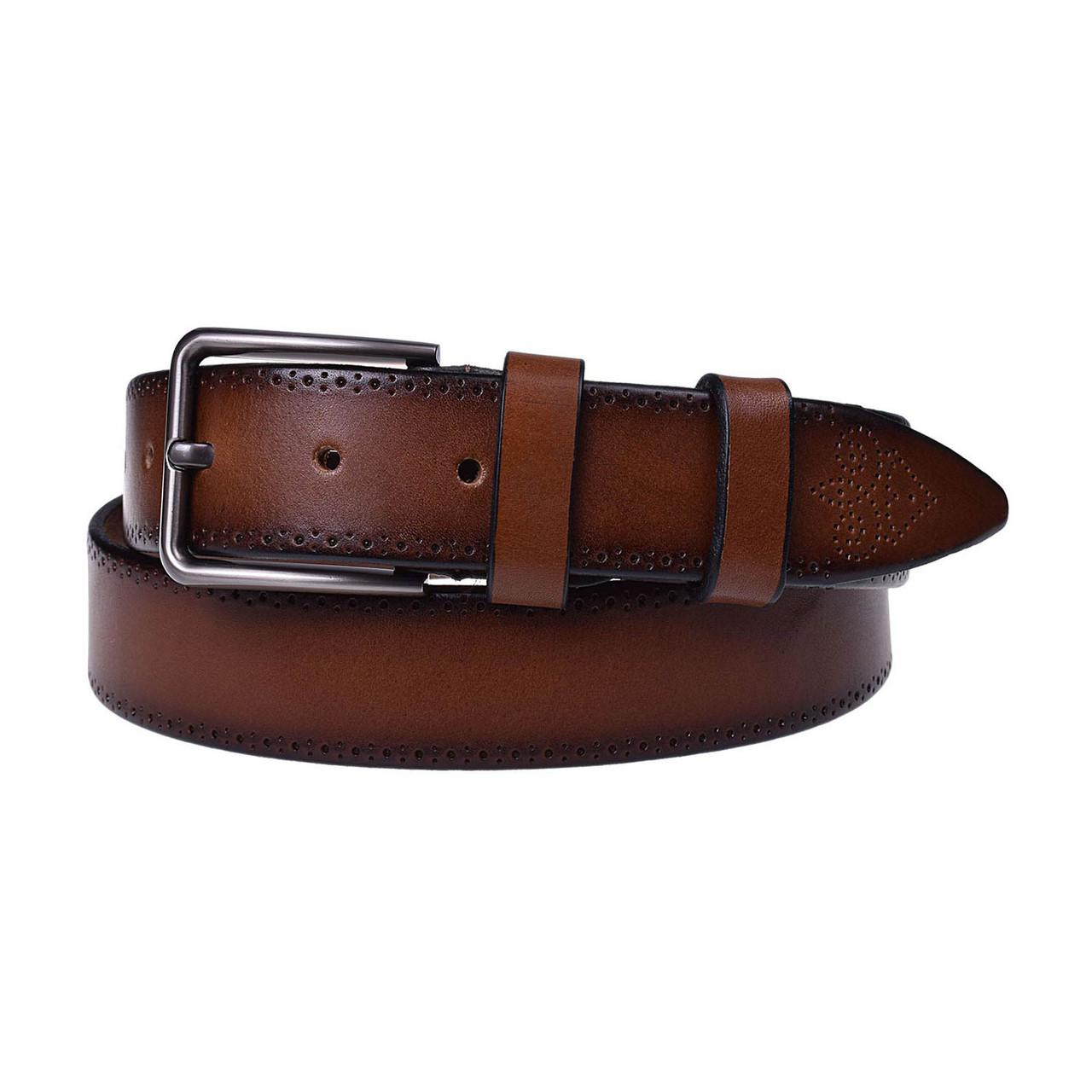 Натуральная кожаный мужской ремень JK Коричневый (MC352037127)