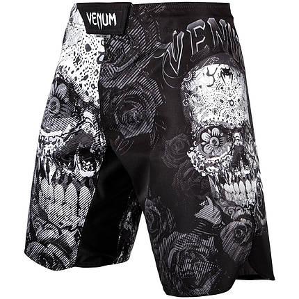 Шорти для MMA Venum Santa Muerte 3.0 Fightshorts Black White, фото 2